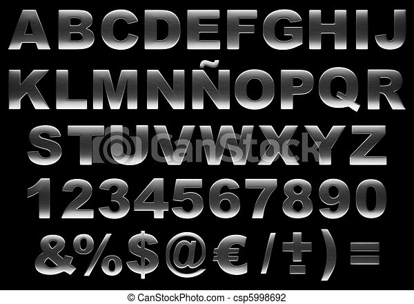 acciaio, alfabeto, spazzolato, isolato, 3d - csp5998692