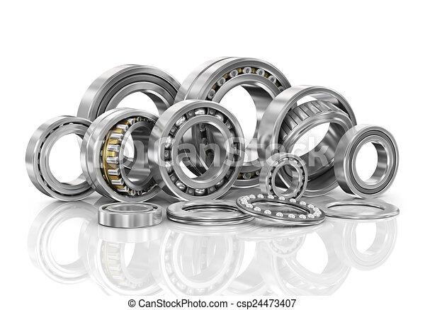 acciaio, cuscinetti, set, palla, closeup. - csp24473407