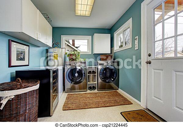 acciaio, moderno, stanza bucato, apparecchi - csp21224445