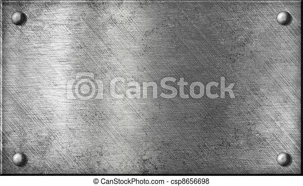 acciaio, piastra, alluminio, alluminio, metallo, o, chiodi - csp8656698