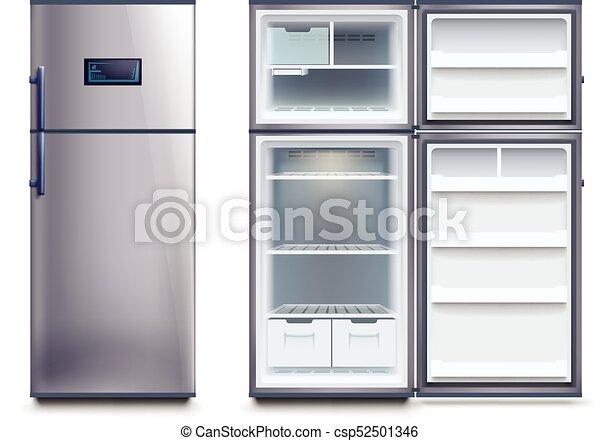 Acciaio, set, frigoriferi. Acciaio, set, moderno, isolato ...