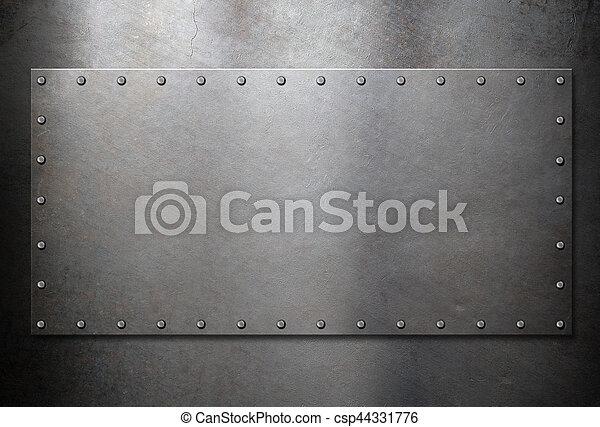 acciaio, vecchio, metallo, fondo, piastra - csp44331776