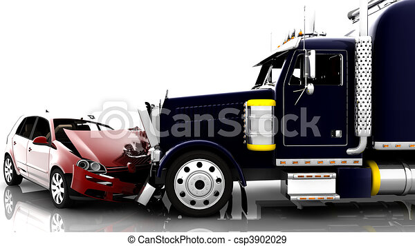 Accident between a car and a truck - csp3902029