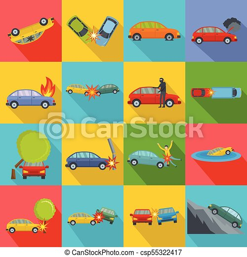 Accident car crash case icons set, flat style - csp55322417
