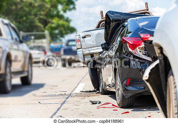 Accident involving many cars on the road - csp84188961