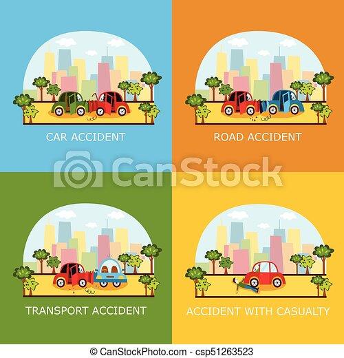 Accident pi ton voiture collision banni res ensemble collision fin ville - Accident de voiture dessin ...