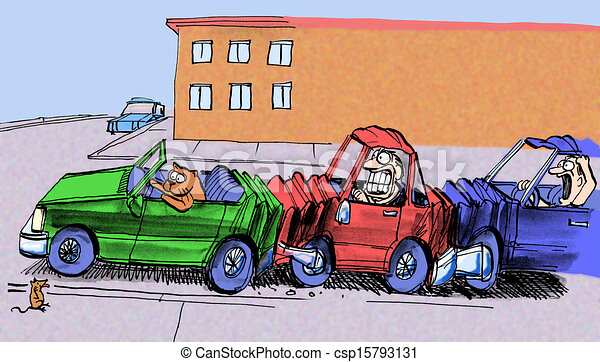 Accident trafic accident voit voiture chat causer trafic souris - Coloriage cars accident ...