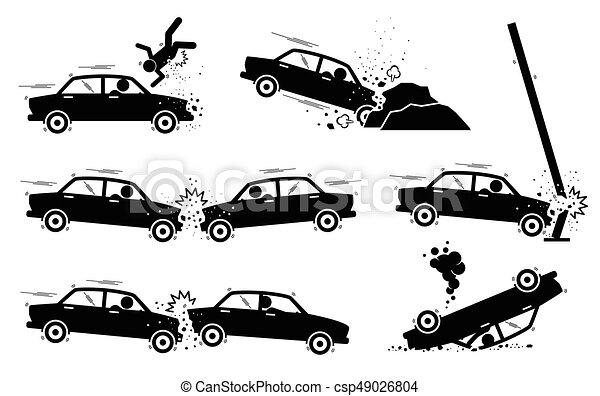 Accident voiture crash v hicule t te d peindre fracas sur virage voiture bas - Accident de voiture dessin ...