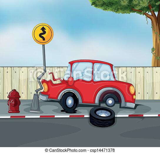 Accident voiture prise eau bord route accident voiture prise eau illustration bord route - Accident de voiture dessin ...