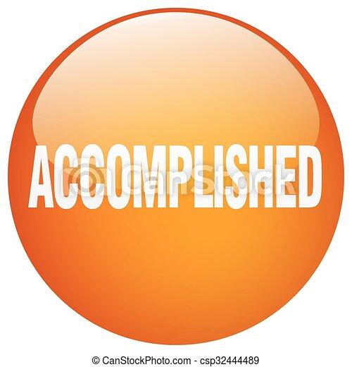 accomplished orange round gel isolated push button - csp32444489