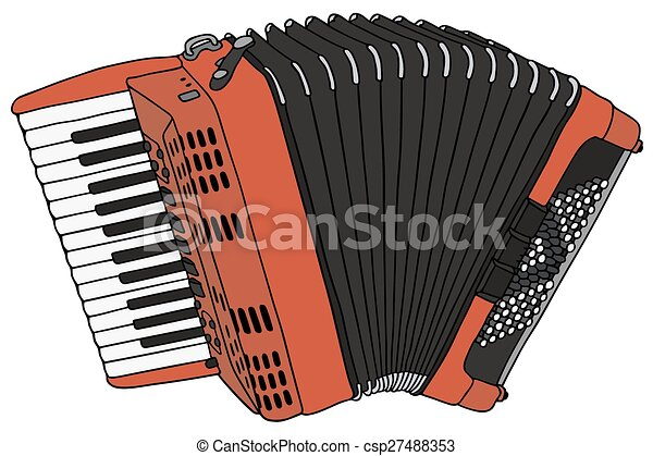 accordion hand drawing of a classic red accordion rh canstockphoto com accordion music clipart piano accordion clipart
