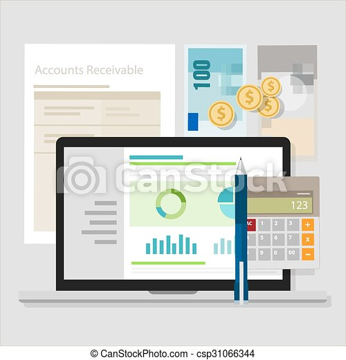 account receivable accounting software money calculator application laptop - csp31066344