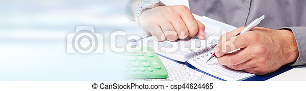 Accountant hands with calculator - csp44624465
