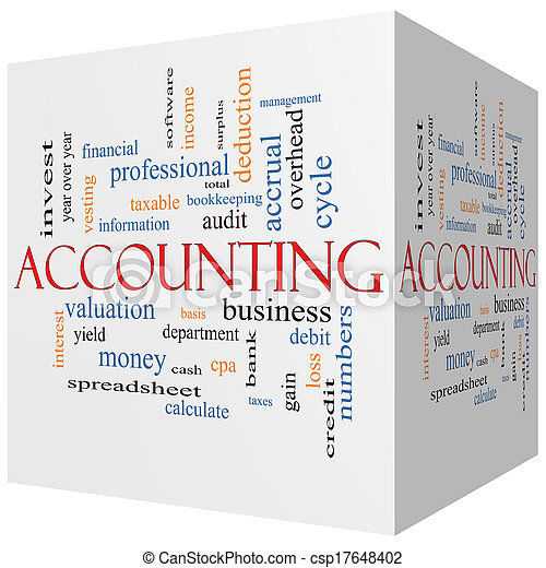 Accounting 3D Cube Word Cloud Concept - csp17648402