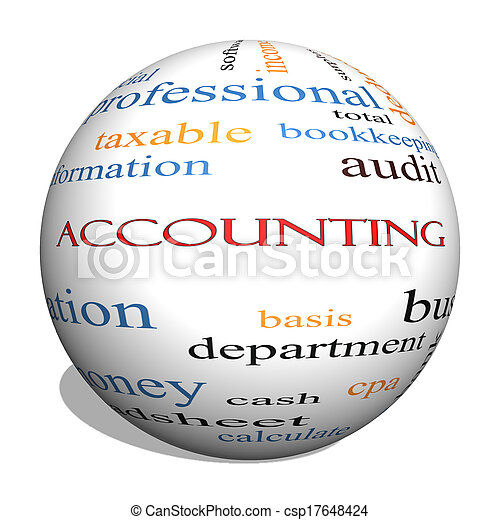 Accounting 3D Sphere Word Cloud Concept - csp17648424