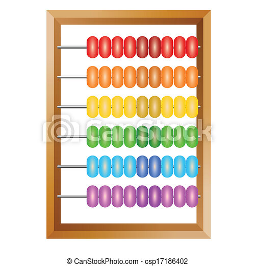 Accounting , a rainbow abacus for financial calculations lies on a white background - csp17186402