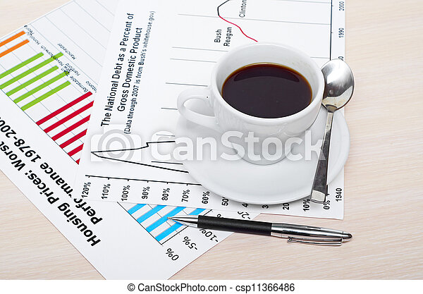 Accounting. Cup of coffee on document. chart and diagram - csp11366486