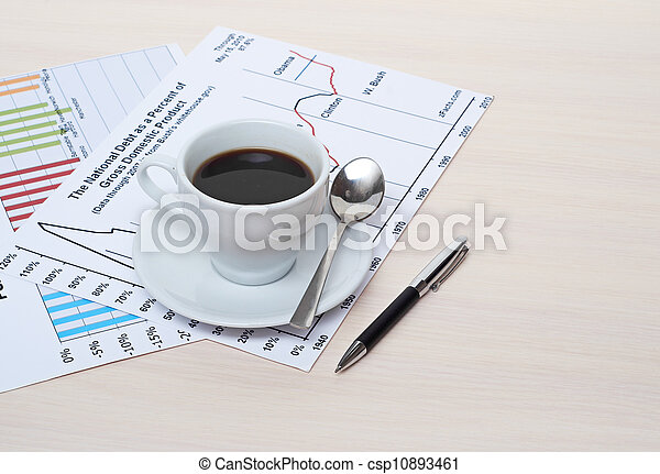 Accounting. Cup of coffee on document. chart and diagram - csp10893461