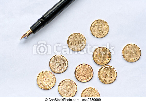 Accounting paper pen coins isolated copy space - csp9789999