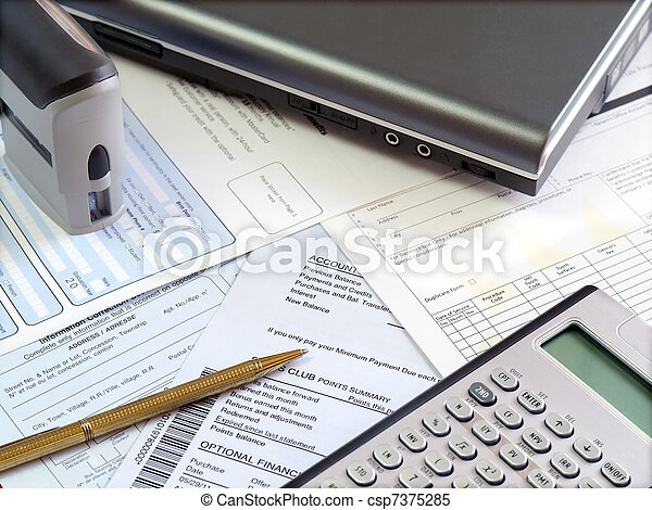 Accounting table. - csp7375285