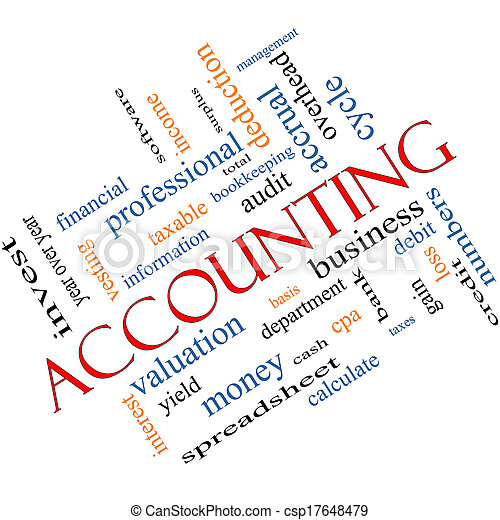 Accounting Word Cloud Concept Angled - csp17648479