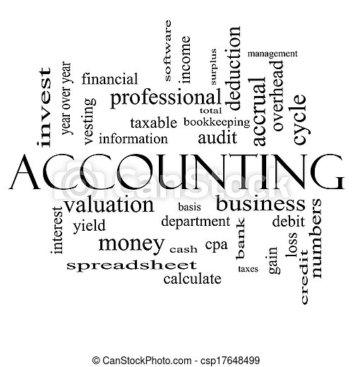 Accounting Word Cloud Concept in black and white - csp17648499