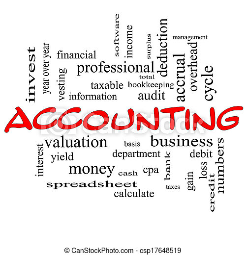 Accounting Word Cloud Concept in red caps - csp17648519