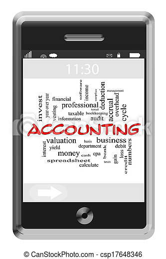 Accounting Word Cloud Concept on Touchscreen Phone - csp17648346