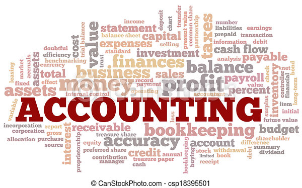 Accounting Word Cloud Word Bubble tags vector - csp18395501