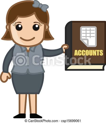 Accounts Book - Business Cartoons - csp15699061