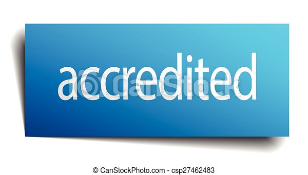 accredited blue square isolated paper sign on white - csp27462483