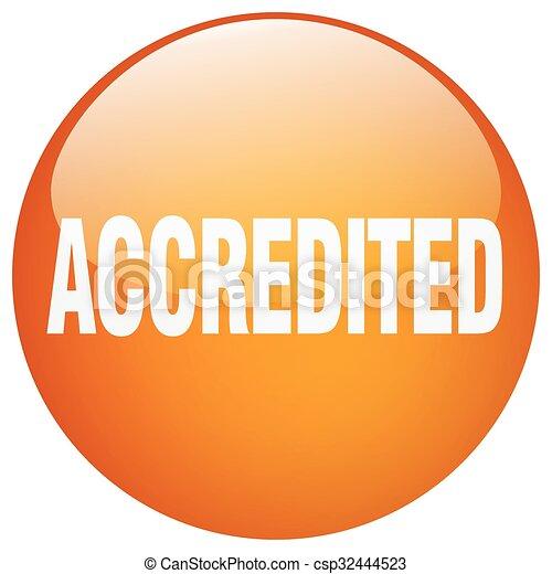 accredited orange round gel isolated push button - csp32444523