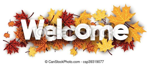accueil, bannière, leaves., érable - csp39319077