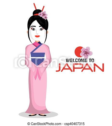 Accueil Japonaise Kimono Japon Girl Icone Accueil Japonaise
