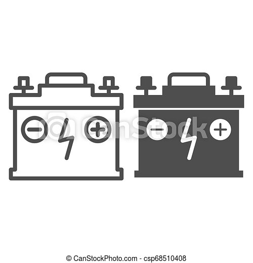 Accumulator line and glyph icon. Battery vector illustration isolated on white. Charge outline style design, designed for web and app. Eps 10. - csp68510408