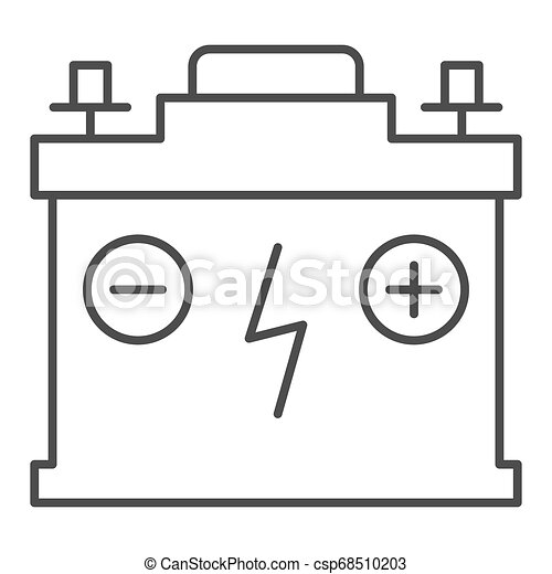 Accumulator thin line icon. Battery vector illustration isolated on white. Charge outline style design, designed for web and app. Eps 10. - csp68510203