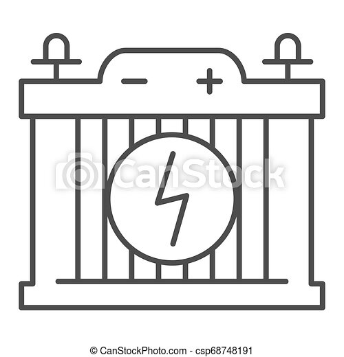 Accumulator thin line icon. Car battery vector illustration isolated on white. Power outline style design, designed for web and app. Eps 10. - csp68748191