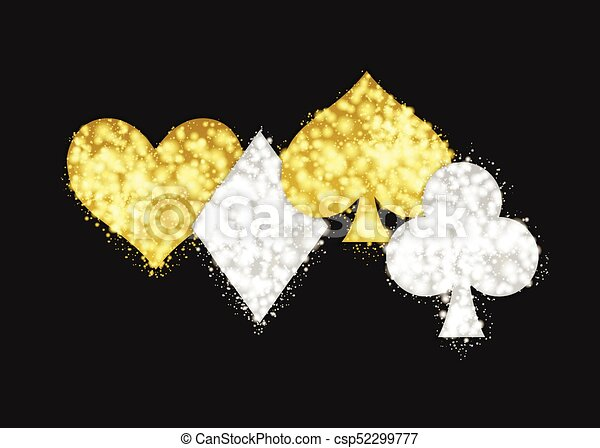 Golden Ans Silver Ace Playing Card Signs Casino And Poker Game Symbols