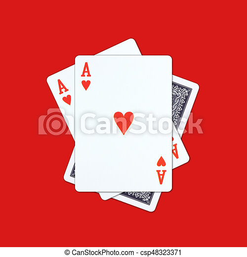 Ace playing cards on red background - csp48323371