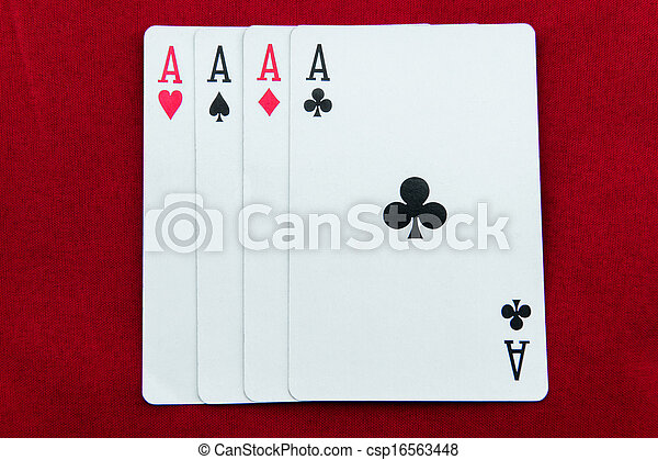 ACE-poker cards on red background - csp16563448