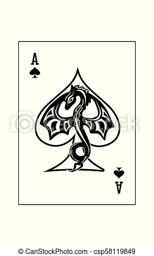 Ace Spades Dragon The Illustration Ace Of The Playing Cards Of