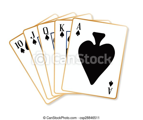 Ace Spades Flush Playing Cards Making A Ace Spades Flush Over A
