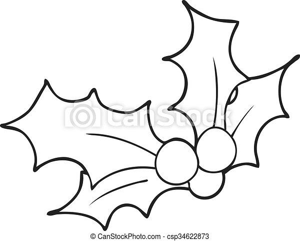 Acebo, blanco, negro, navidad, caricatura. Dibujado, caricatura ...