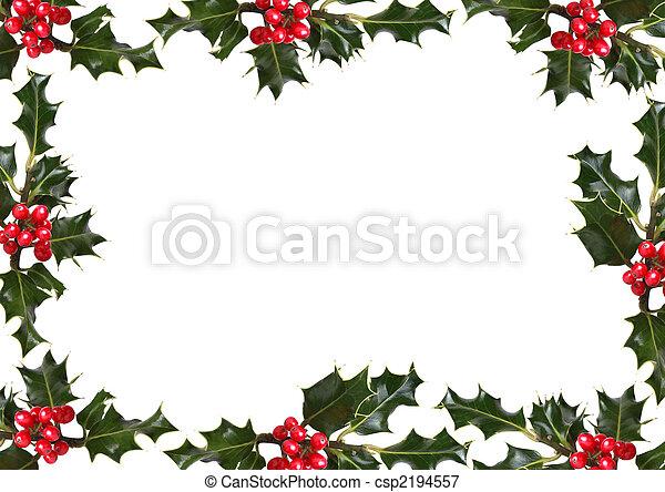 Hojas de Holly y la frontera de bayas rojas - csp2194557