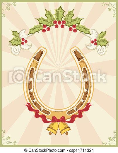 Horseshoe en el fondo navideño con Holly Berry - csp11711324