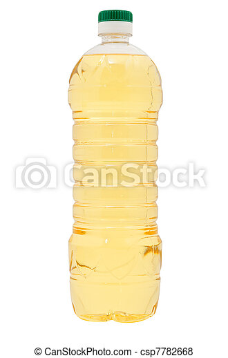 Aceite vegetal en botella de plástico. Aislado de fondo blanco - csp7782668