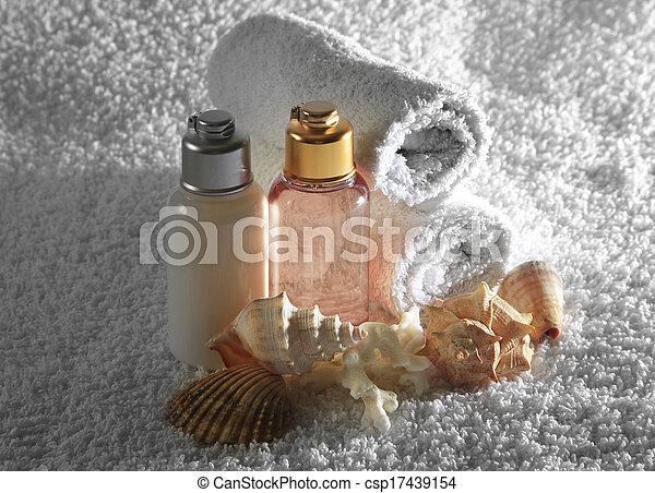 aceite, botella, masaje - csp17439154