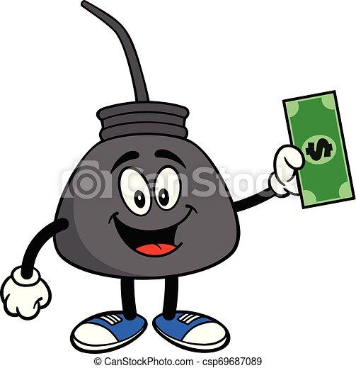 Una lata de aceite con un dólar - csp69687089