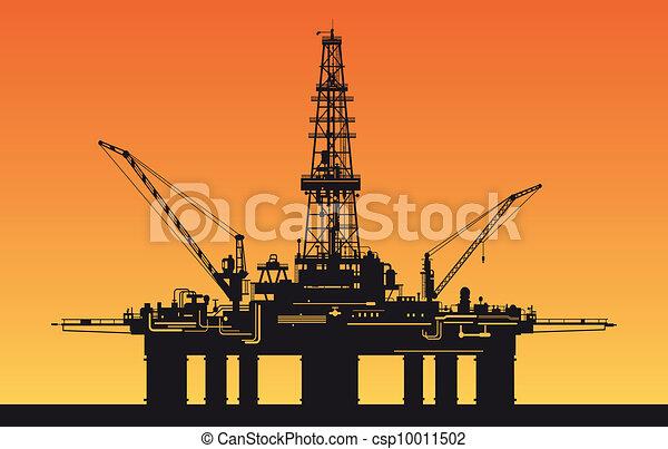 Derrick de petróleo en el mar - csp10011502
