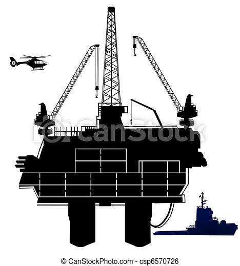 Equipo de perforación petrolífera, en el área exterior - csp6570726